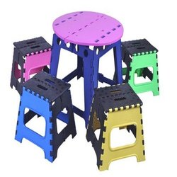 Plastic Folding Stool with Table