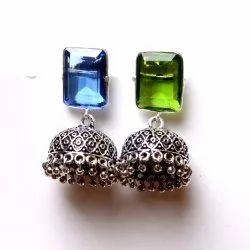 Blue Topaz, Peridot Gemstone Jhumka Earrings