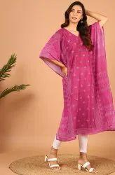 Janasya Women's Pink Poly Georgette Kaftan(J0354)