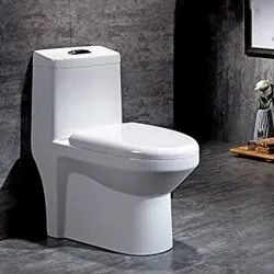 White S & P Trap Sober One Piece Ceramic Toilet Seat, For Home,Hotel, Size/Dimension: 48 X 5 X 38 Cm