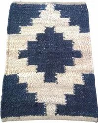 Printed Hand Weave Blue And White Handloom Wool Durries