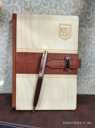 Wooden & Leather Diary With Pen
