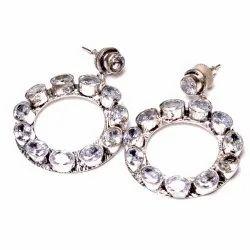 White Topaz Gemstone Women's Earrings