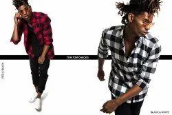 Check Black Full Sleeve Men Casual Cotton Shirt