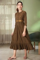 Janasya Women's Olive Cotton Flex Western Dress(J0207)