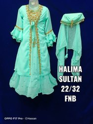 PISTA COLOR Embroidered Halima Sultan Dress, Age Group: 3-9 Or 4-10 Years, Size: 22-32