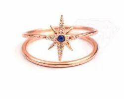 925 Sterling Silver Iolite & CZ Ring