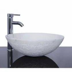 White Marble Table Top Wash Basin, For Bathroom