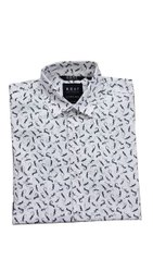 White ( Base) Collar Neck Men Polyester Printed Shirt, Size: Small