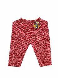 Ladies Red Printed Cotton Capri, Size: Medium