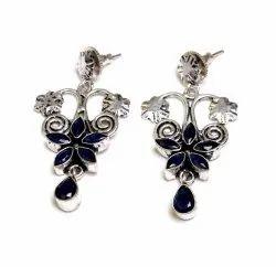 Sapphire Gemstone Silver Plated Women Dangle Earrings