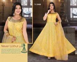 Modal Chanderi Yellow Ladies Readymade Floor Length Anarkali Suit