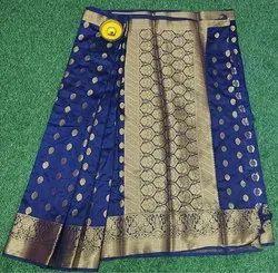 Wedding Wear Blue Raw Silk Saree, 6.3 m (with blouse piece)