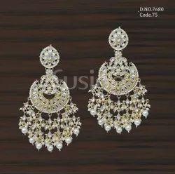 Fusion Arts Indo Western Pearl Chandbali Earrings