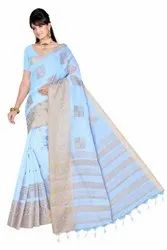 Shreeji Casual Wear Cotton Embroidery Sarees, With Blouse, 6.3 m