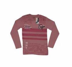 Full Sleeves Pink Men Round Neck Printed Cotton T Shirt