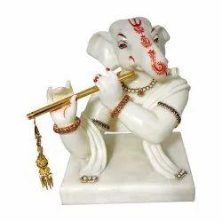 Marble Look Ganesha Idol with Jewellery