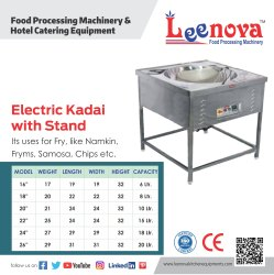 Leenova Stainless Steel Electric Kadai (With Stand), Capacity: 15 Ltr