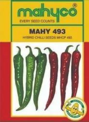 Green MAHYCO HYBRID CHILLI / MAHY 493, For Agriculture, Packaging Type: Pouch
