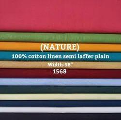 Nature 100% Cotton Linen Semi Laffer Plain Shirting Fabric