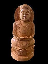 Gautam Buddha Murti Wooden 12 Inch