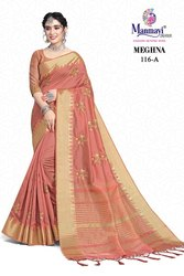 Manmayi Creation Peach Embroidered Cotton Silk Saree, With Blouse Piece, 6.3m