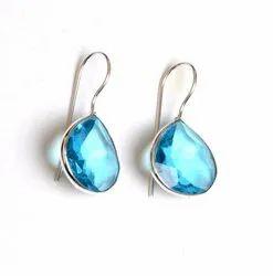 Blue Topaz, Citrine Gemstone Designer Earrings