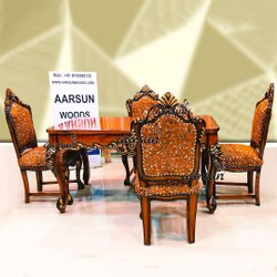 Aarsun Wooden Handcarved Dining Set, For Home