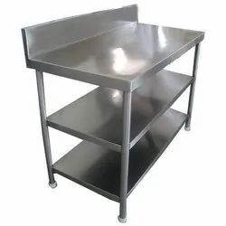 White Polished Work Table With Undershelf, For Restaurant, Size: 48