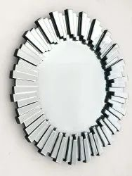 Round Silver Color Glossy Finish Wall Glass Mirror, For Decoration, Size: 30*30inch (diameter)