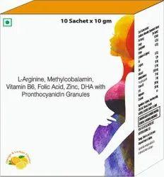 L-arginine, Methycobalamin, Vitamin B6, Folic Acid, Zinc, Dha With Pronthocyanidin Granules