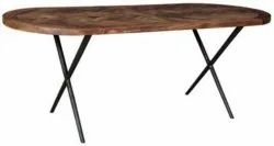 Brown Wooden Oval Dining Table, For Hotel, Size: 5.5x2.8feet