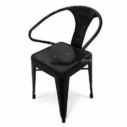 Black Paint Coated Short Metal Chair, Size: Standard