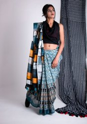 Party Wear Linen Printed Saree, With Blouse Piece, 5.5m (Separate Blouse Piece)
