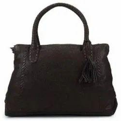 Black Leather Ladies Bag, Size: Standard