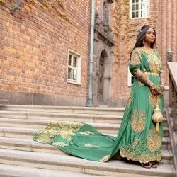 Embroidered As Shown In Picture Somali Dirac Fabric Wedding Dress