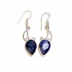 Sapphire Gemstone Silver Plated Women Earrings