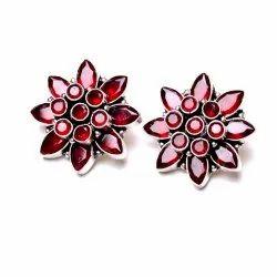 Garnet Gemstone Flower Women's Earrings