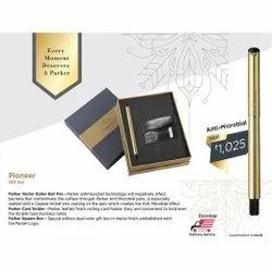 Parker Card Holder with Parker Gold Pen