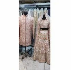 Pink Embroidery Couple Dresses For Wedding