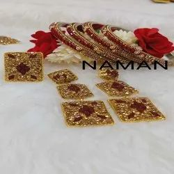 Fancy Red Bangles With Earing For Women And Girl