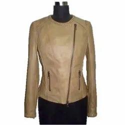 Full Sleeve Plain MBE/Fl/41173 Leather Jacket With Weaving Sheep