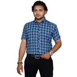 Blue Collar Neck Fashion Aex Yellow Pc Cotton Formal Wear Big Checks Shirt For Men