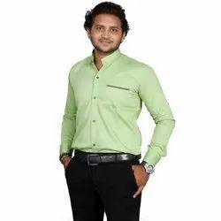 Cotton Twill Mint Green Fashion Aex Branded Casual Wear Plain Shirt