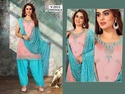 Cotton Ladies Blue Patiyala Suit