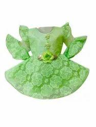 Net Party Wear Girls Green Frock, Age Group: 3 Year