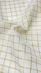 MUSLIN JARI CHECKS FABRIC, Plain/Solids, White