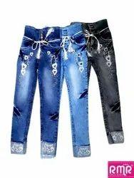 RMR Regular Ladies Embroidry Stretchable Denim Jeans, Waist Size: 32