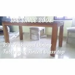 Glass Top Teakwood Dining Table