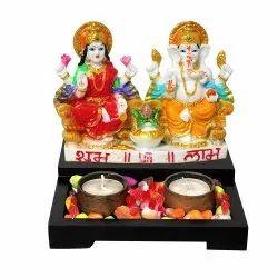 Tea Light Candle Holder With Laxmi Ganesha Statue